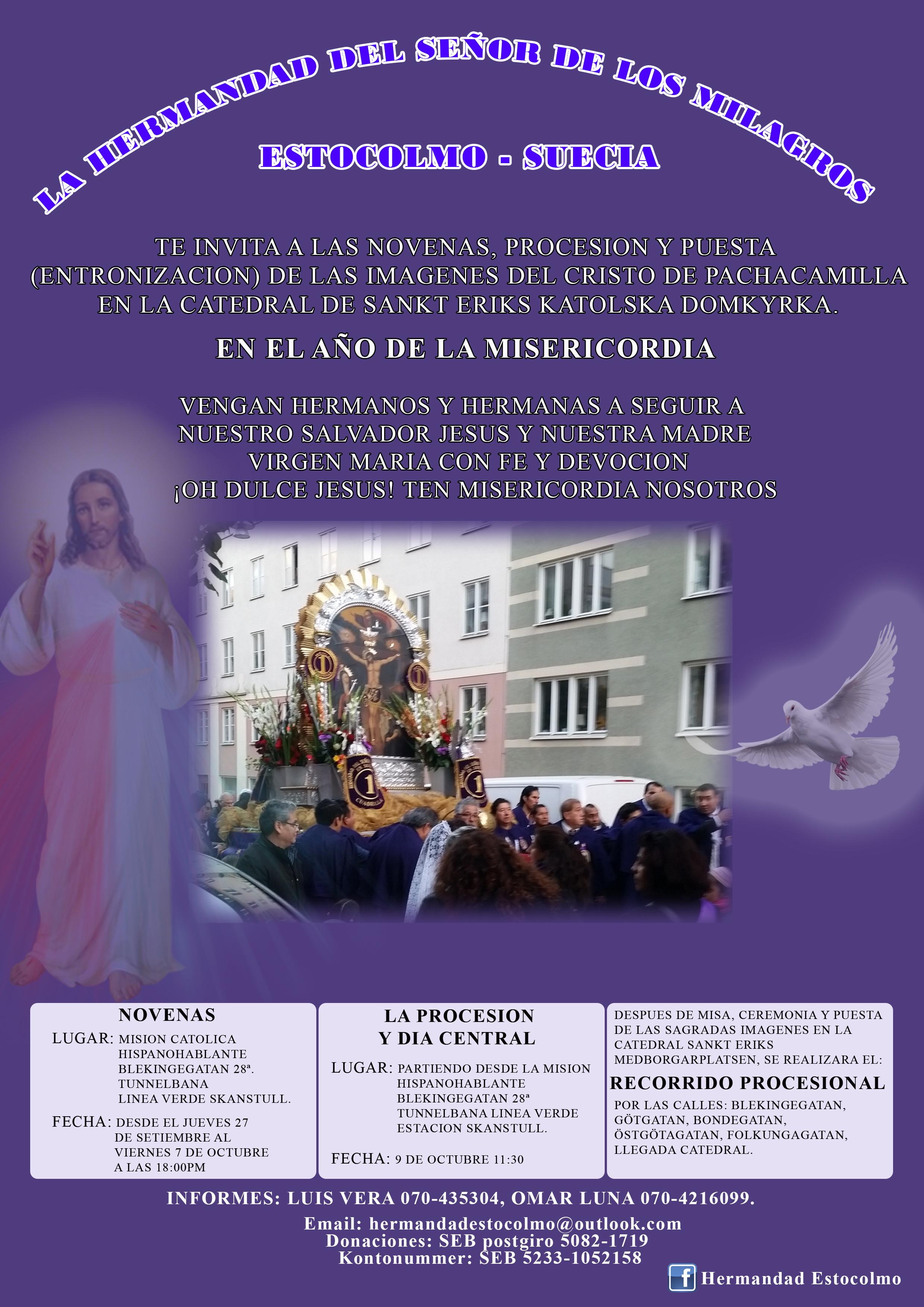 Invitación A Las Novenas Procesión Y Entronización De Las